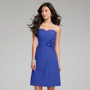 Alfred Angelo cobalt blue chiffon dress